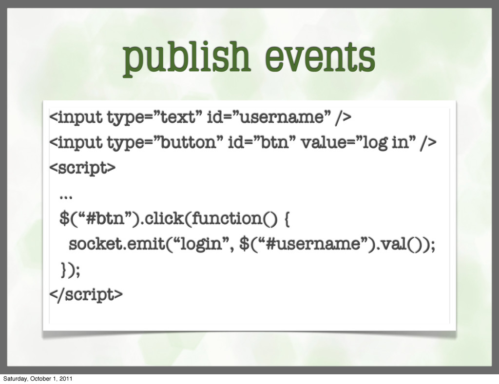 "publish events <input type=""text"" id=""username""..."