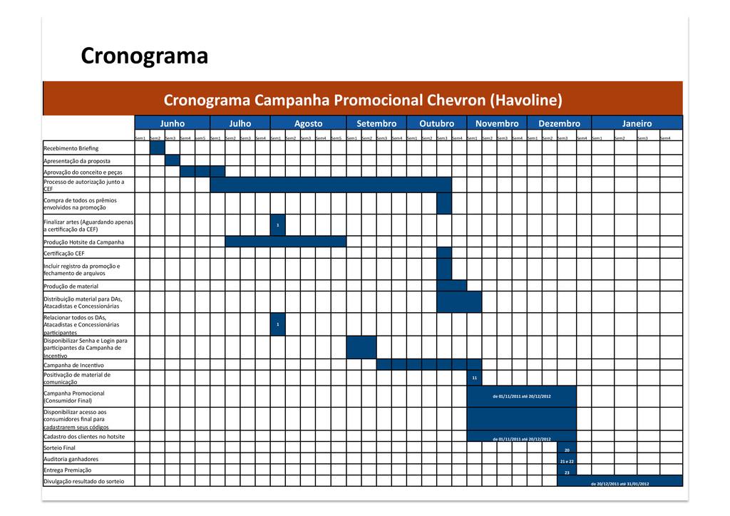 Cronograma Cronograma Campanha Promocional Chev...