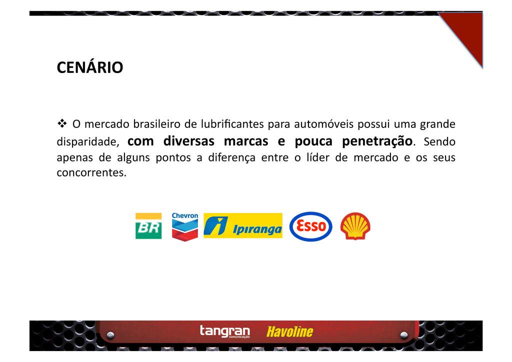 CENÁRIO  O mercado brasileiro de lubrificantes...