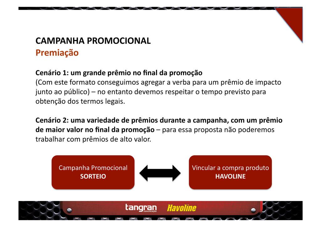 CAMPANHA PROMOCIONAL Premiação Cenário 1: um gr...