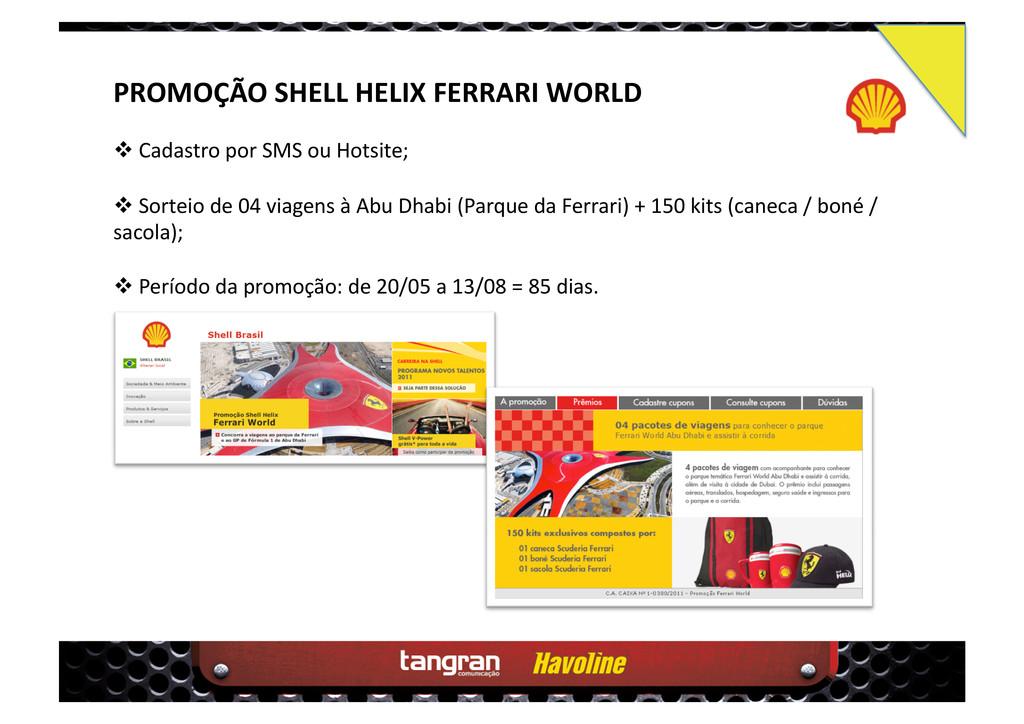 PROMOÇÃO SHELL HELIX FERRARI WORLD  Cadastro ...