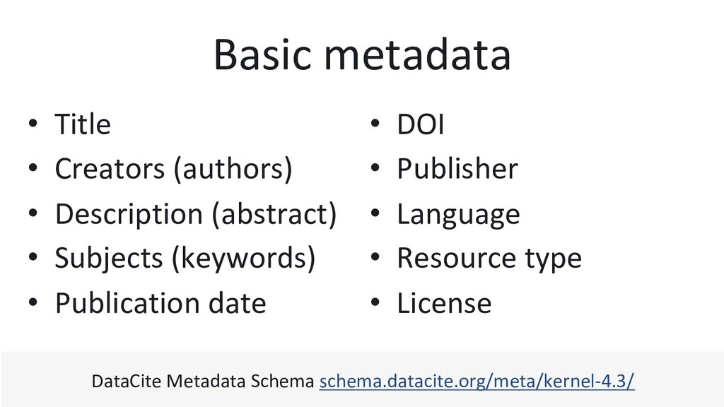 Basic metadata •  DOI •  Publisher •  Language ...