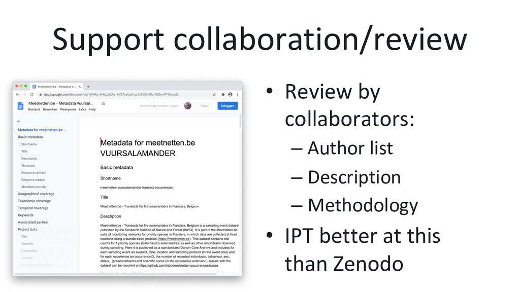 Support collaboration/review •  Review by colla...