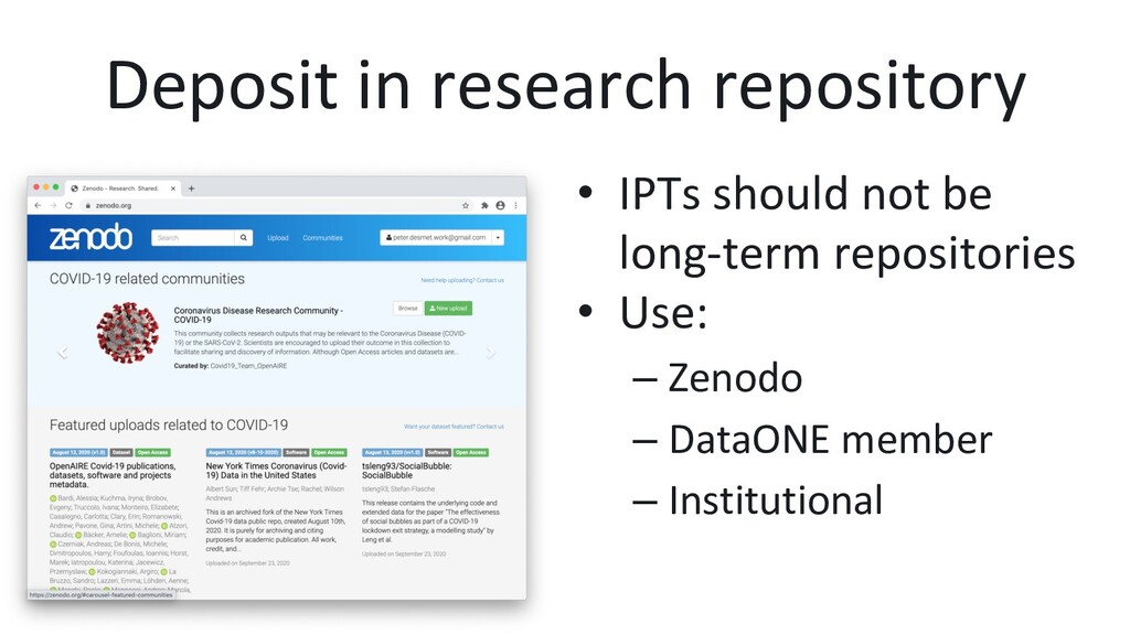 Deposit in research repository •  IPTs should n...