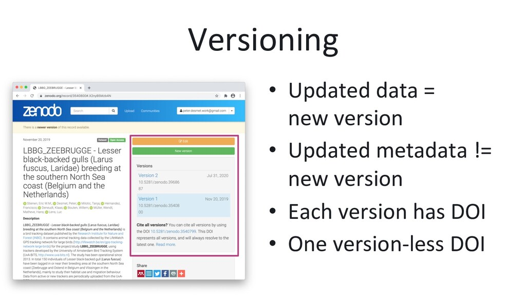 Versioning •  Updated data = new version •  Upd...