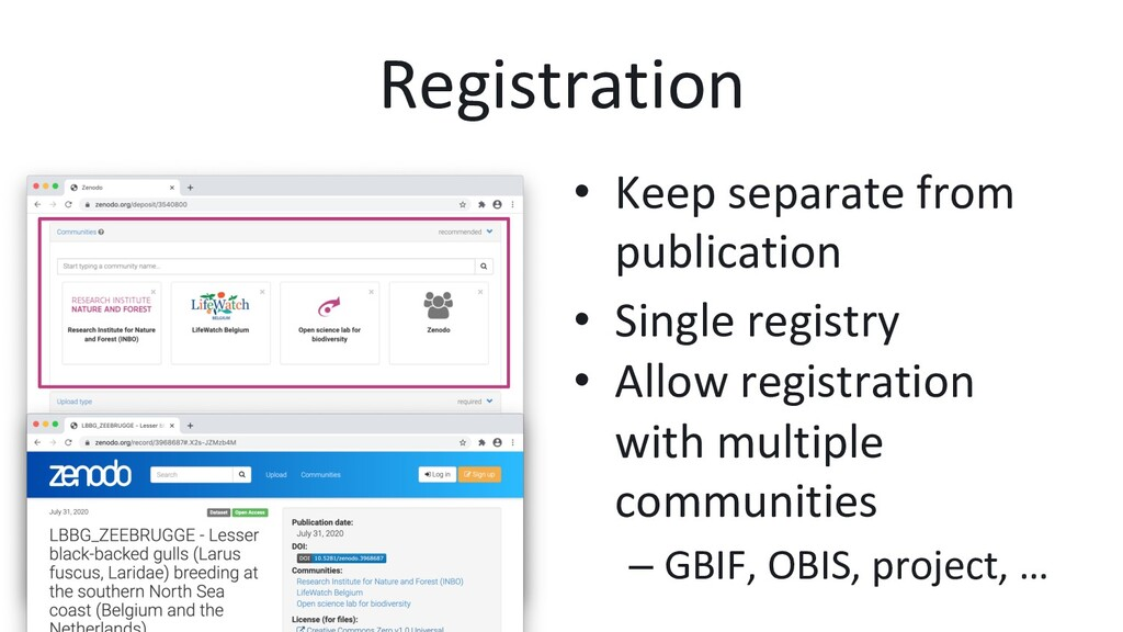Registration •  Keep separate from publication ...