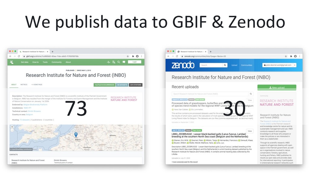 We publish data to GBIF & Zenodo 30 73