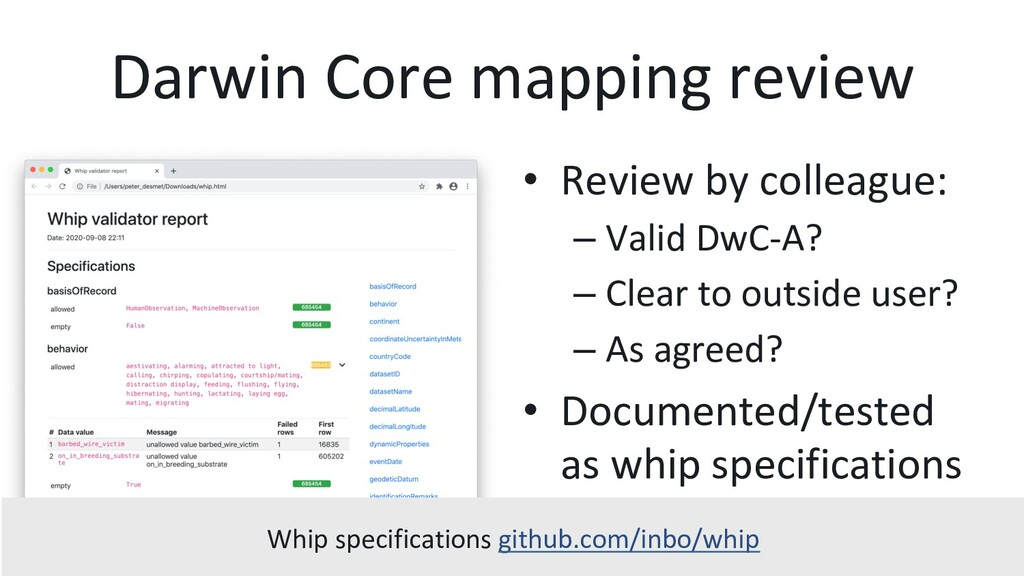 Darwin Core mapping review •  Review by colleag...
