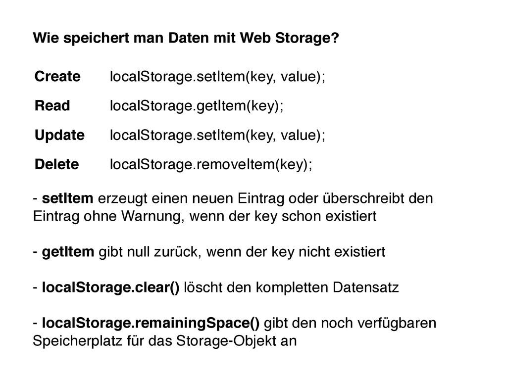 Wie speichert man Daten mit Web Storage? - setI...