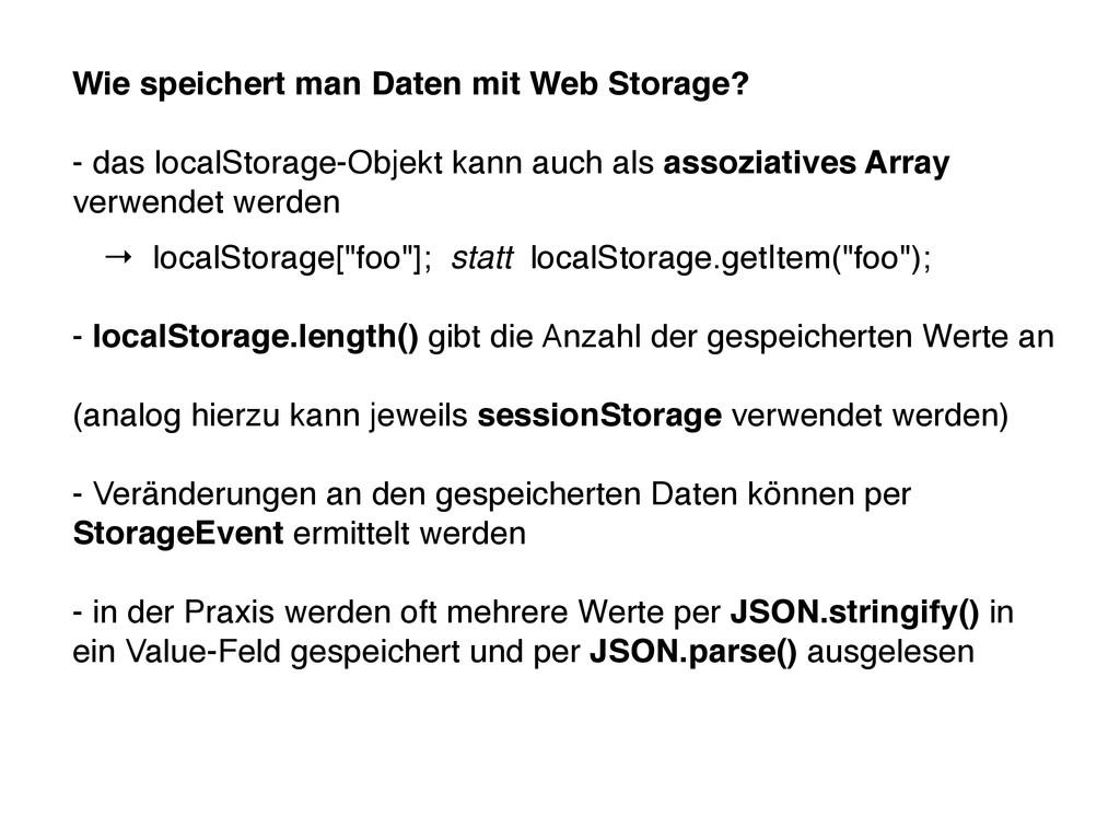 Wie speichert man Daten mit Web Storage? - das ...