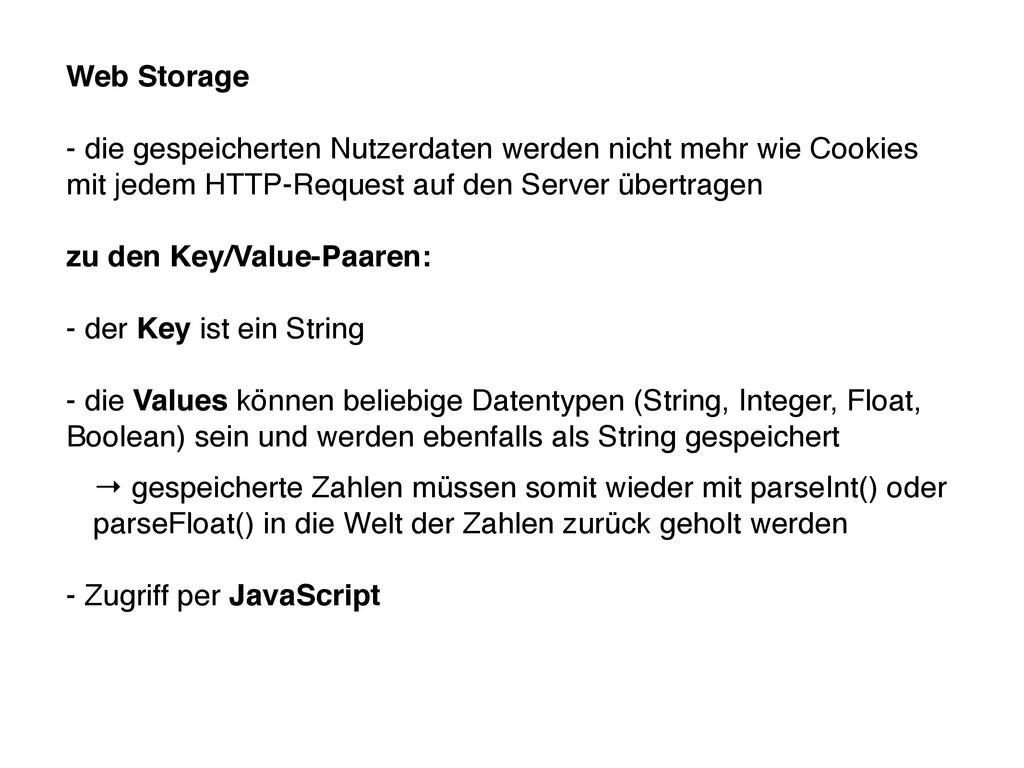 Web Storage - die gespeicherten Nutzerdaten wer...
