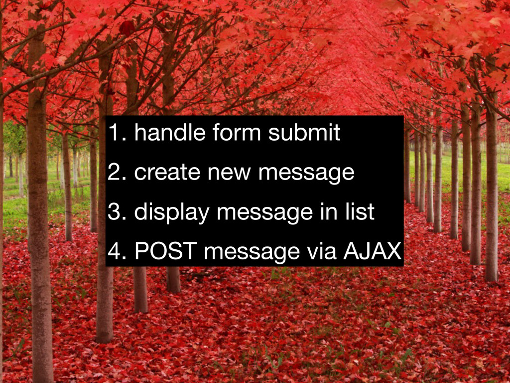 1. handle form submit 2. create new message 3. ...