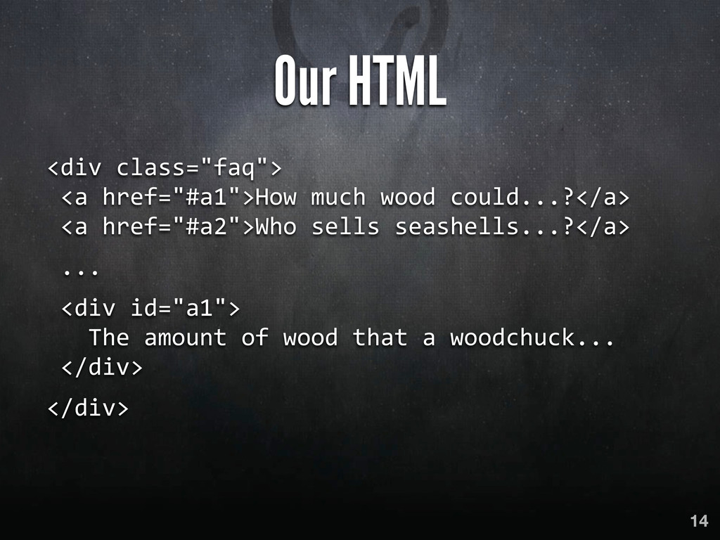 """Our HTML <div class=""""faq"""">  <a href=""""#..."""