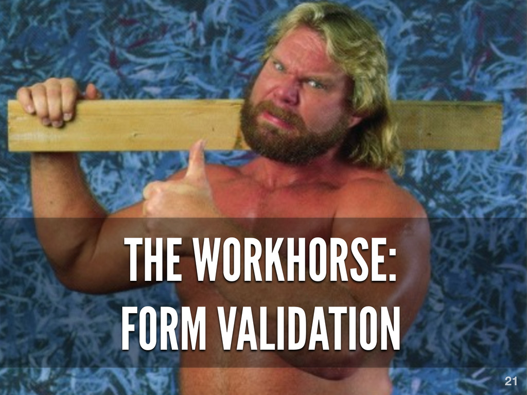 THE WORKHORSE: FORM VALIDATION 21