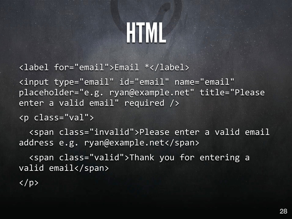 """HTML <label for=""""email"""">Email *</label>..."""