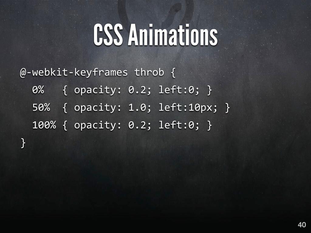 CSS Animations @-‐webkit-‐keyframes throb...