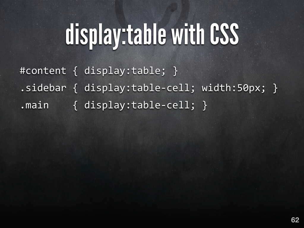 display:table with CSS #content { display...