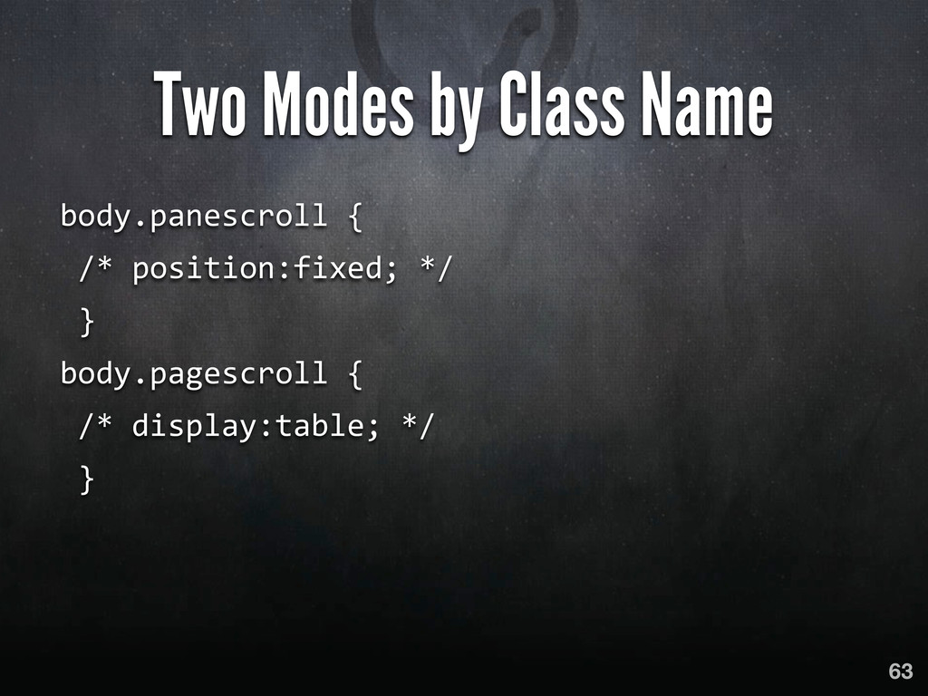 Two Modes by Class Name body.panescroll { ...