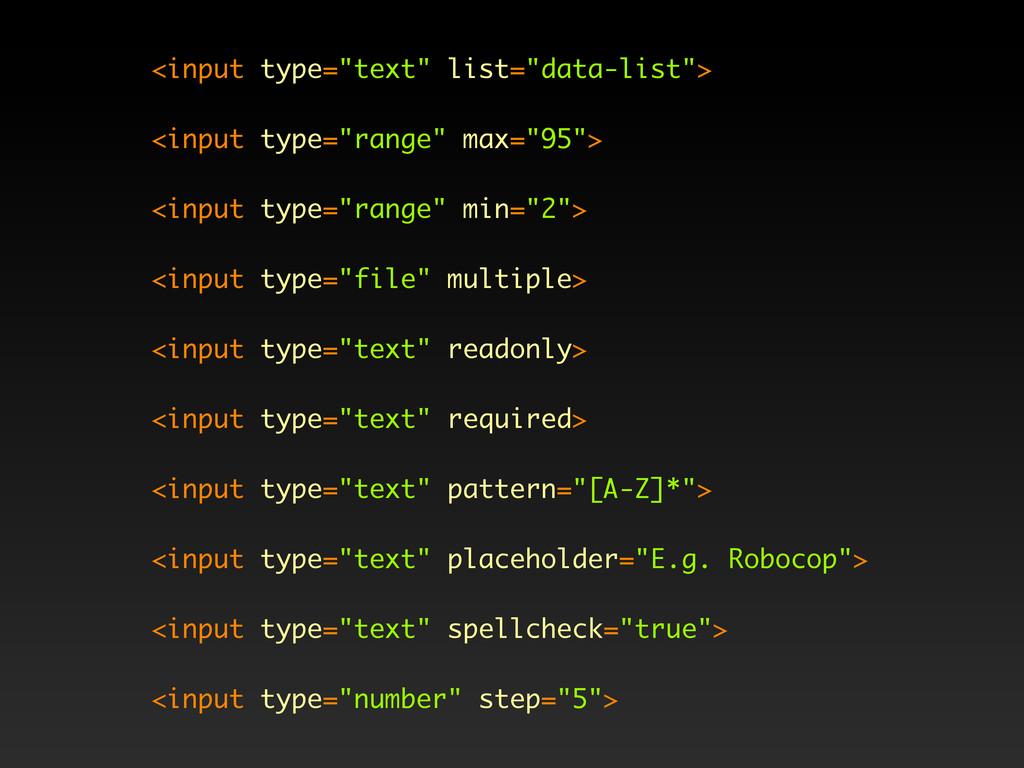 """<input type=""""text"""" list=""""data-list""""> <input typ..."""