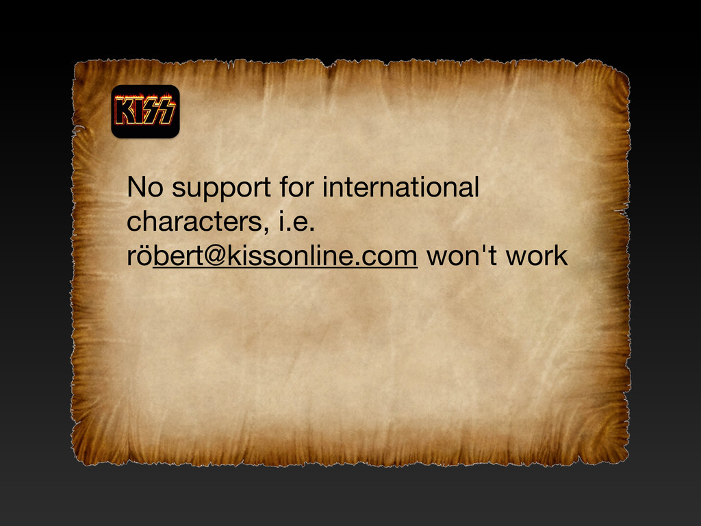 No support for international characters, i.e. r...