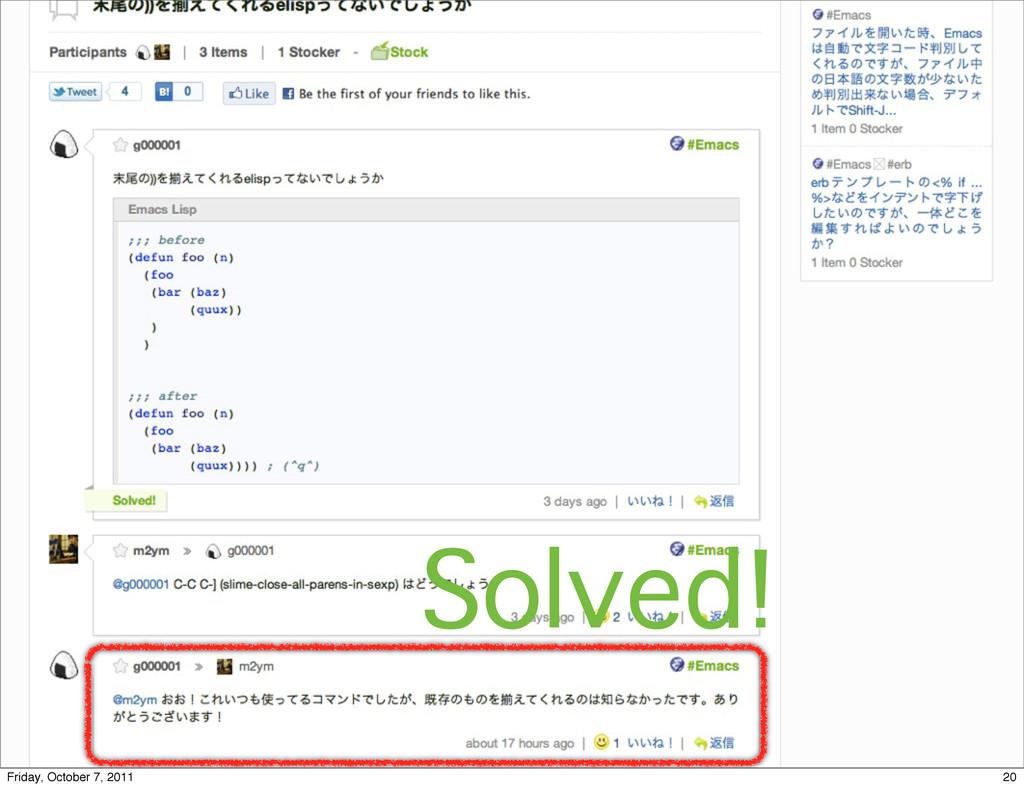Solved! 20 Friday, October 7, 2011