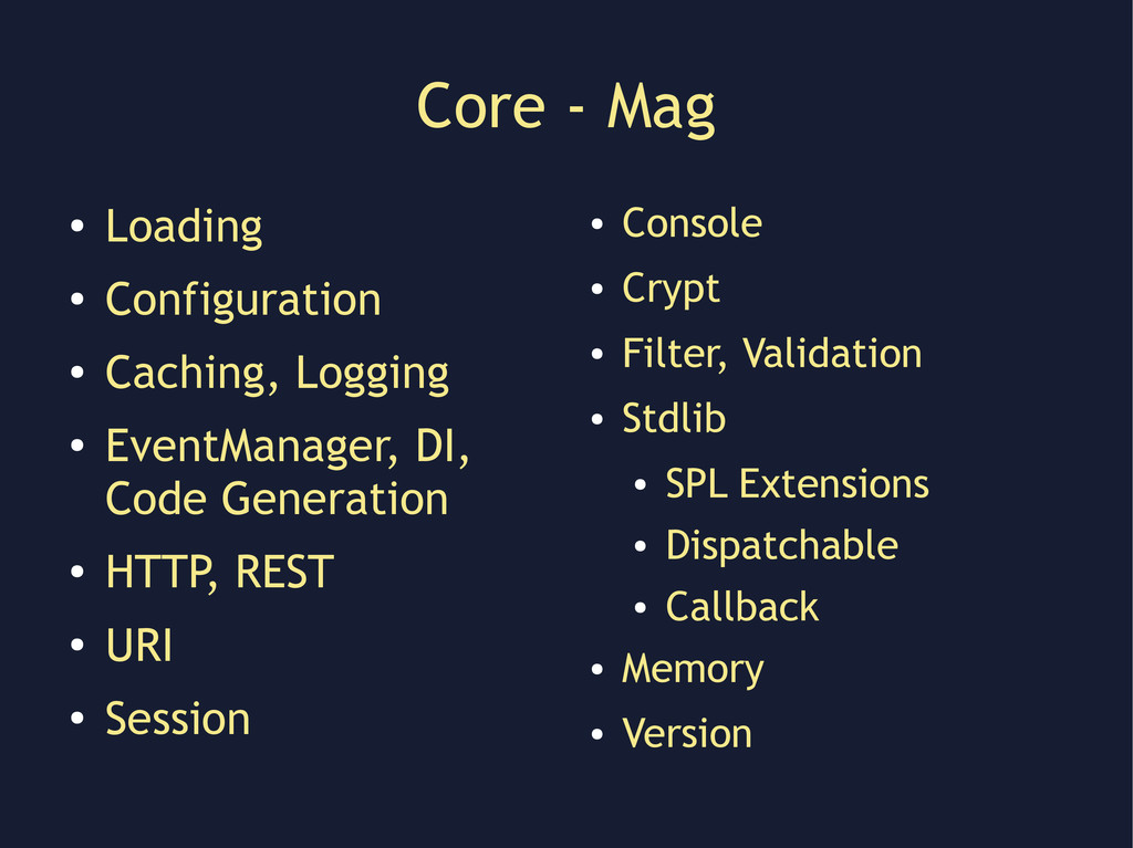 Core - Mag ● Loading ● Configuration ● Caching,...