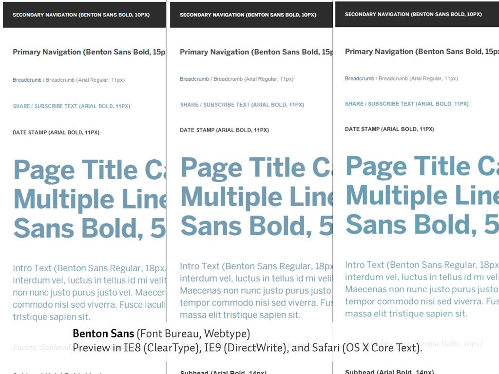 Benton Sans (Font Bureau, Webtype) Preview in I...