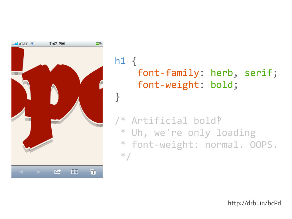 h1 {     font-‐family: herb,...