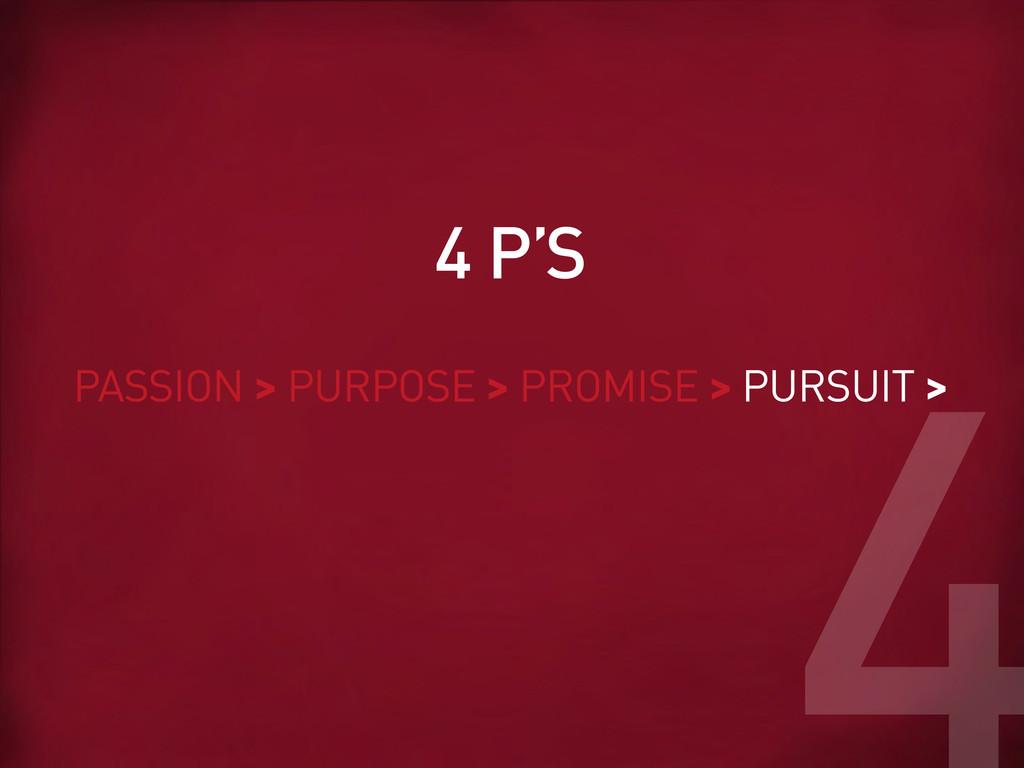 PASSION > PURPOSE > PROMISE > PURSUIT > 4 P'S 4
