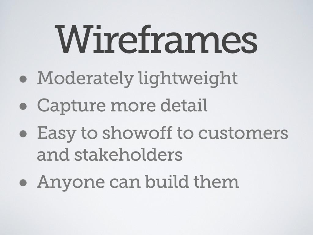 Wireframes • Moderately lightweight • Capture m...