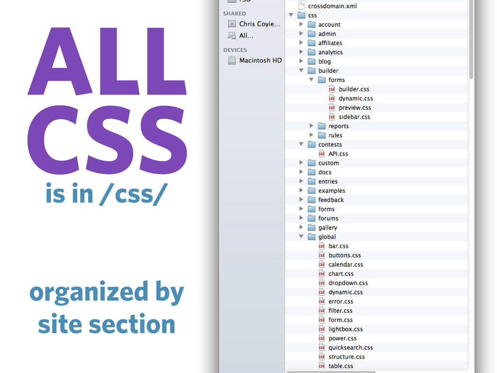 ALL CSS is in /css/ organized by site section