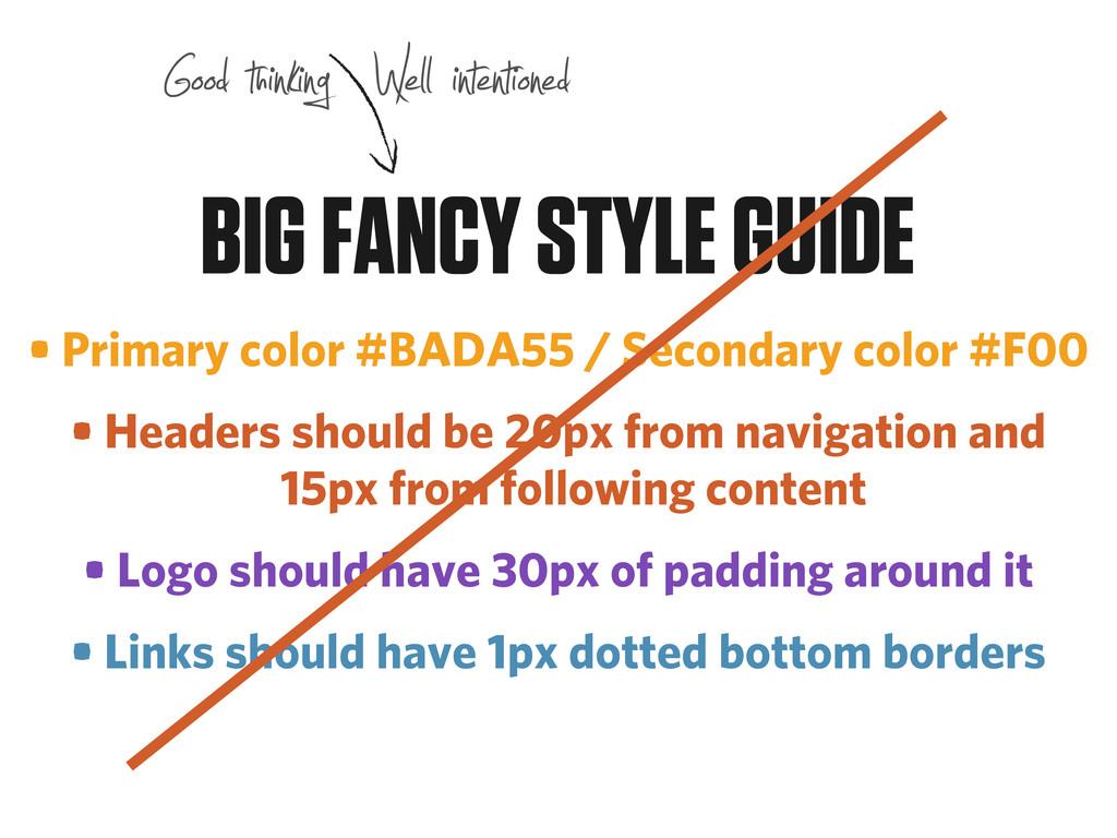 • Primary color #BADA55 / Secondary color #F00 ...