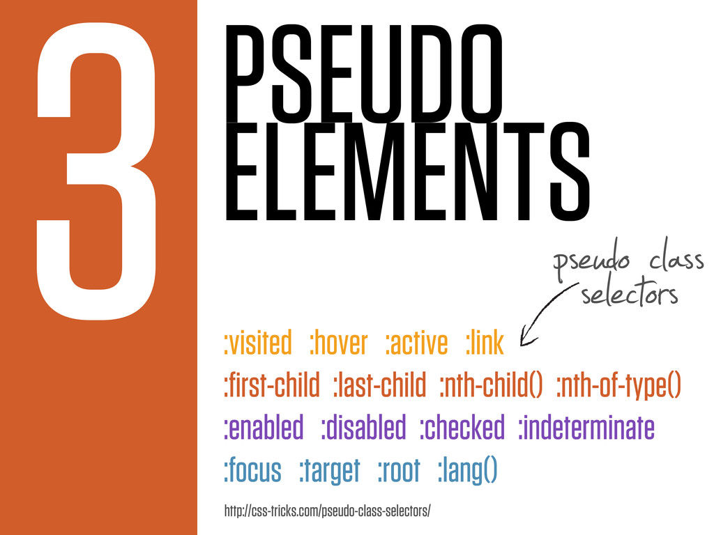 PSEUDO ELEMENTS 3 :visited :hover :active :link...