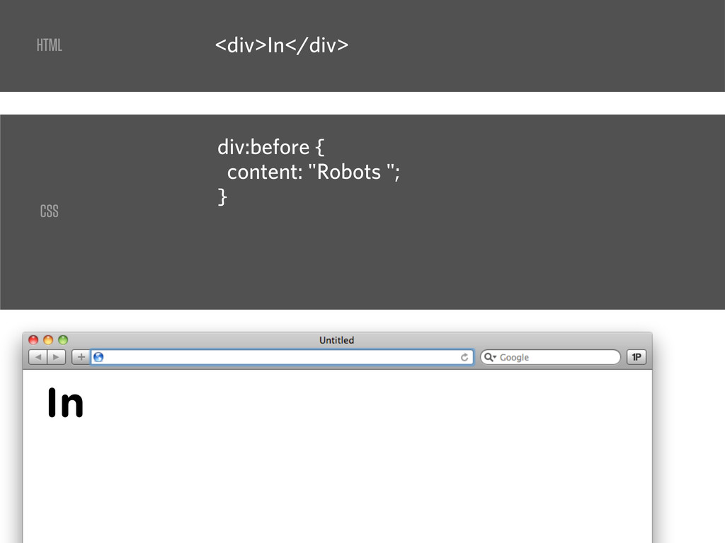 """<div>In</div> div:before { content: """"Robots """"; ..."""