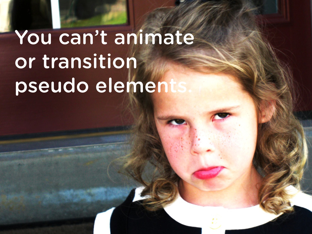 You can't animate or transition pseudo elements.