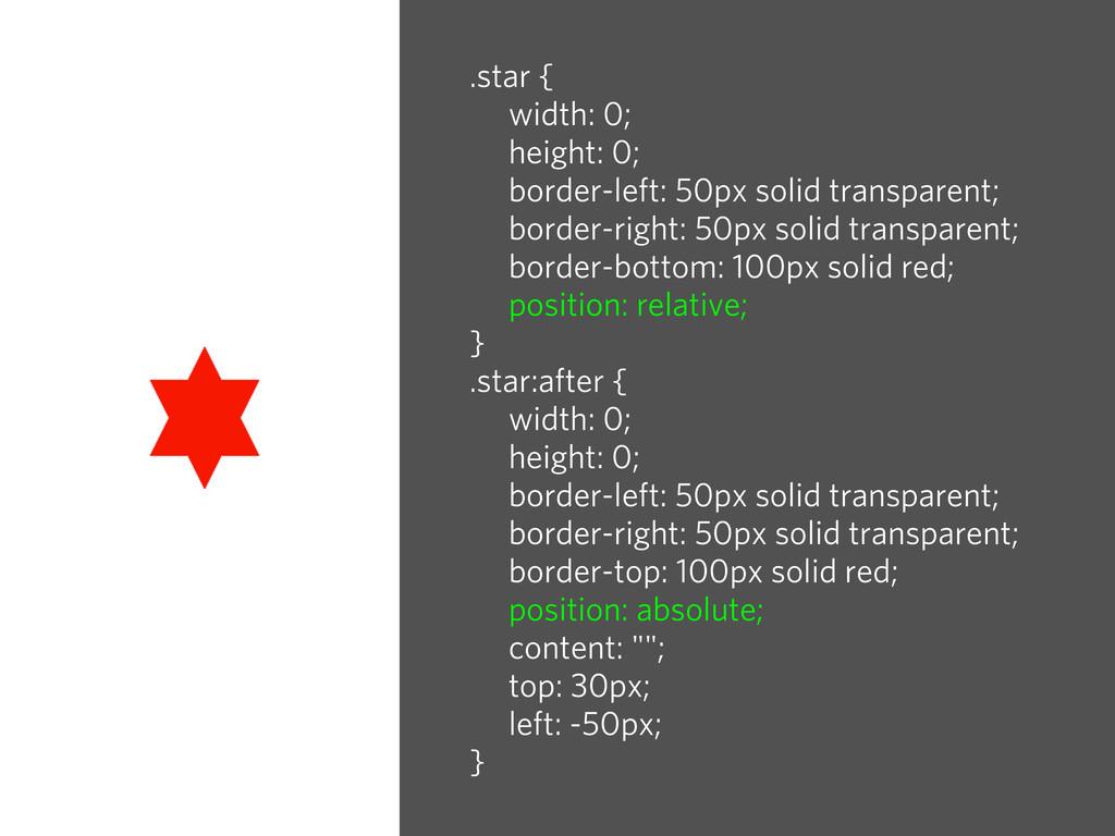 .star { width: 0; height: 0; border-left: 50px ...