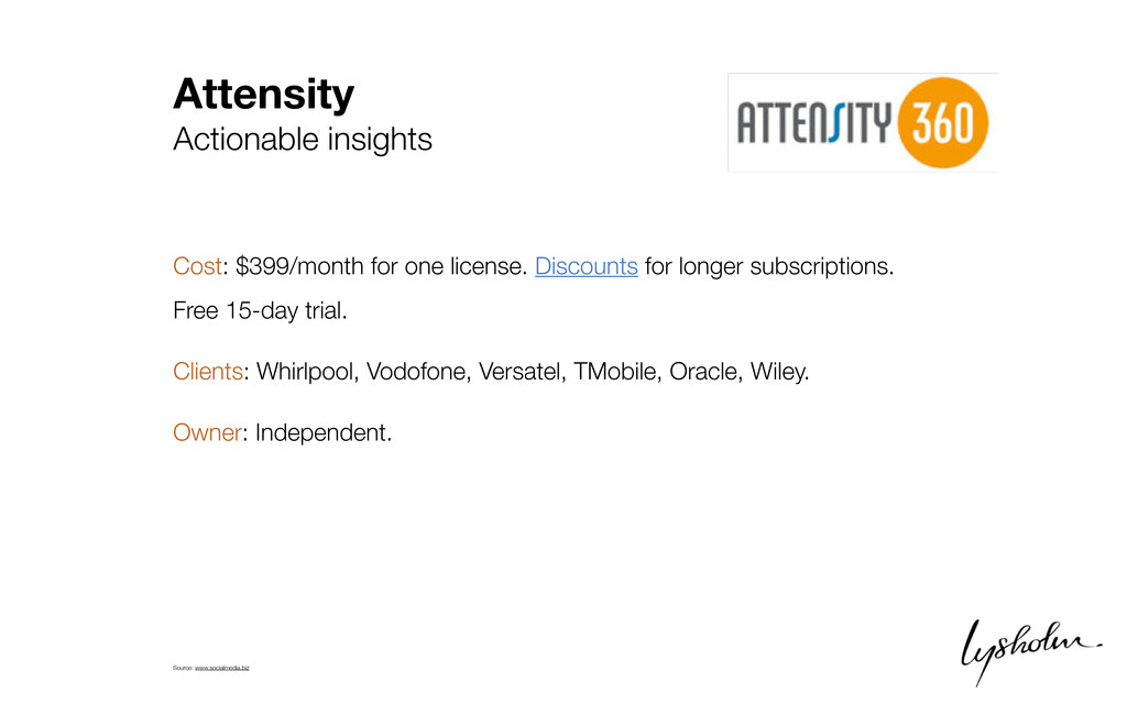 Attensity Actionable insights Cost: $399/month ...