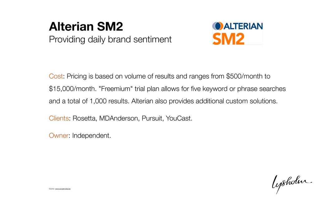 Alterian SM2 Providing daily brand sentiment Co...