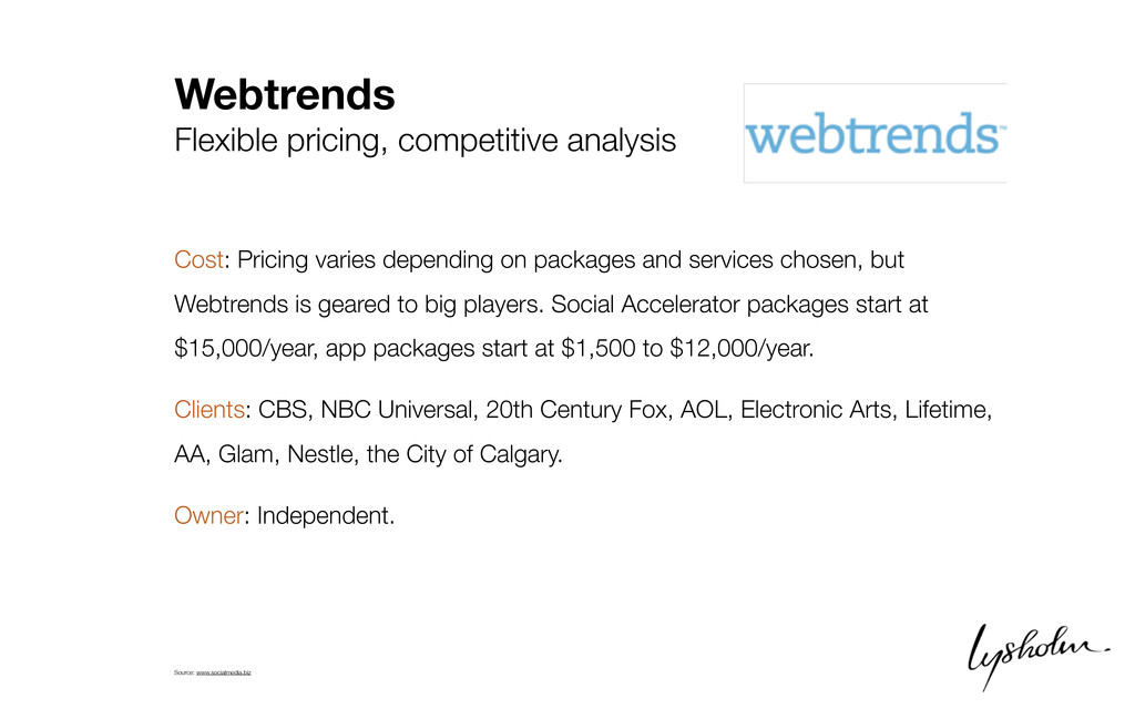 Webtrends Flexible pricing, competitive analysi...