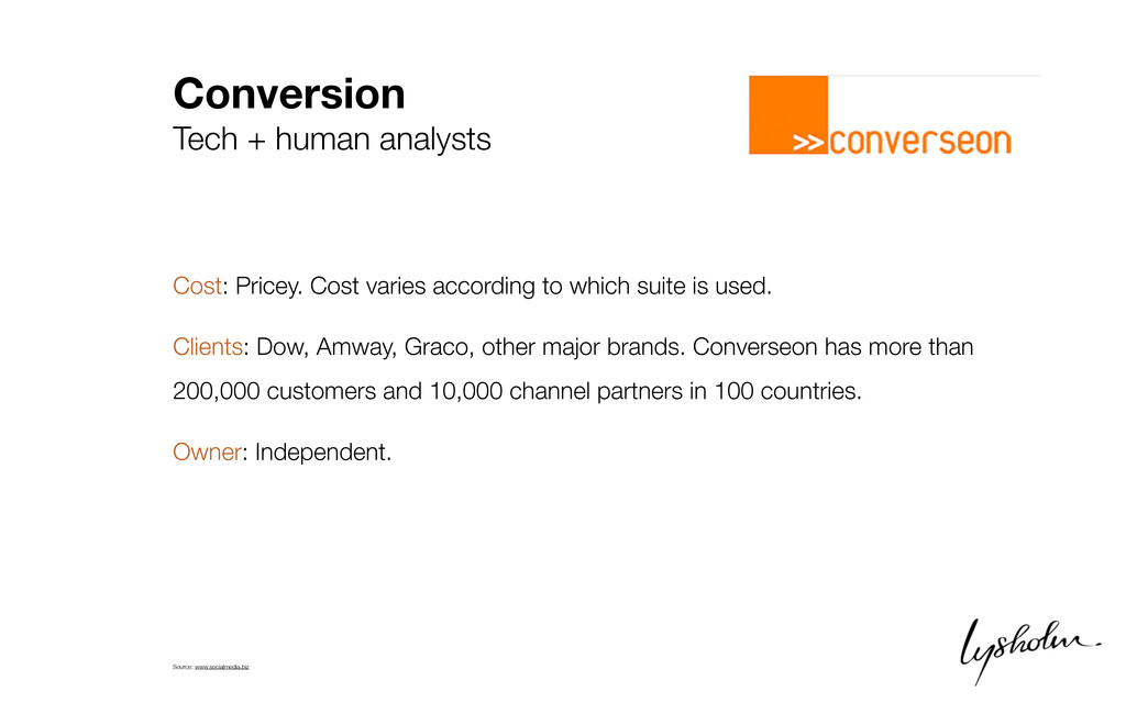 Conversion Tech + human analysts Cost: Pricey. ...