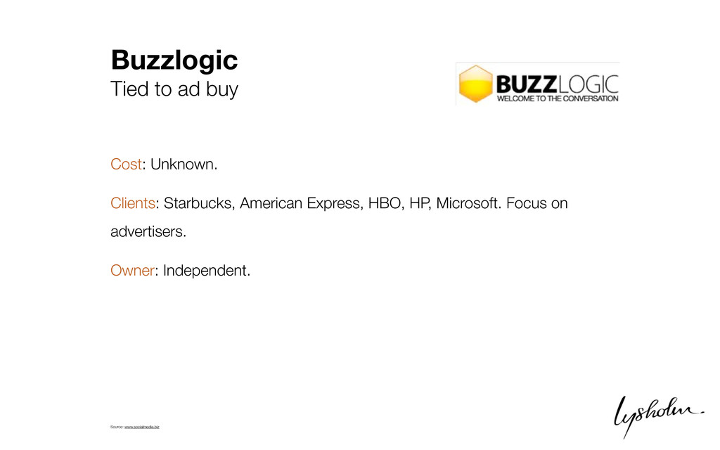 Buzzlogic Tied to ad buy Cost: Unknown. Clients...