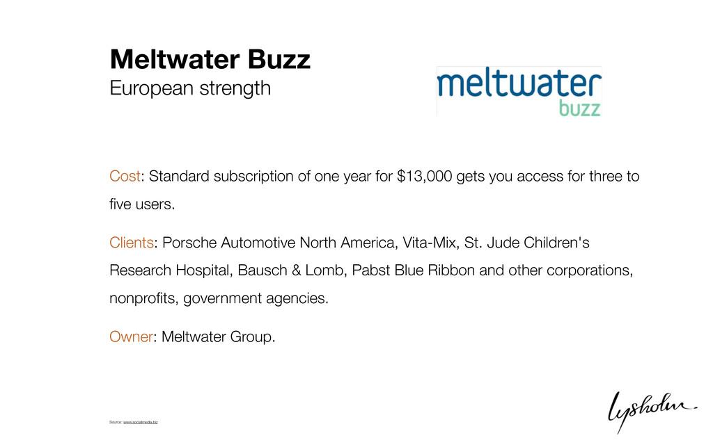 Meltwater Buzz European strength Cost: Standard...
