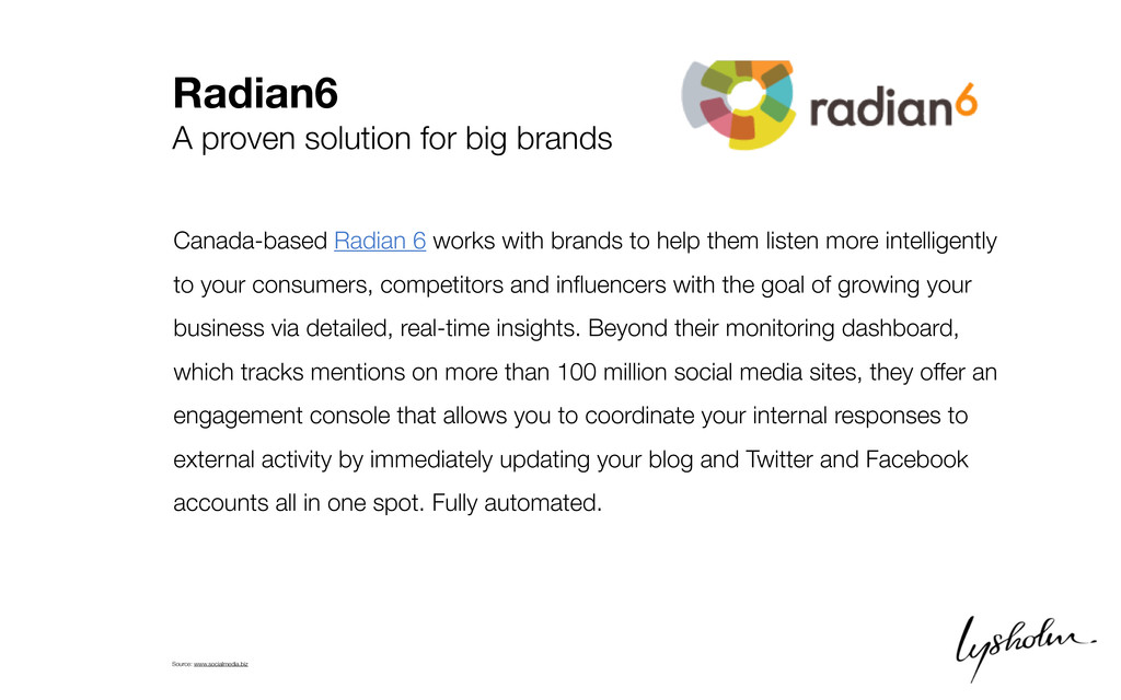 Radian6 A proven solution for big brands Canada...