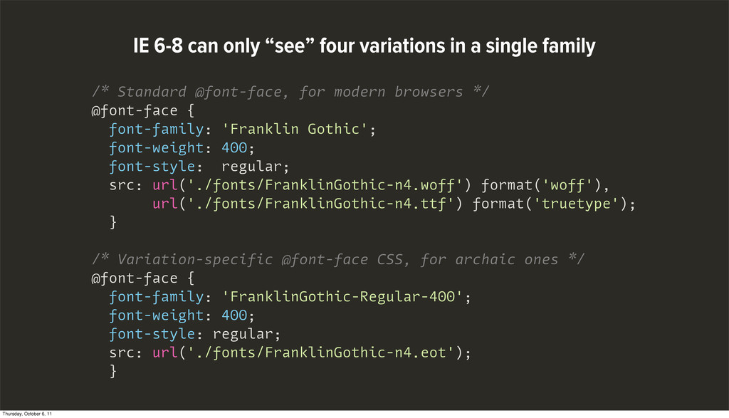 /* Standard @font-face, for modern browsers */ ...