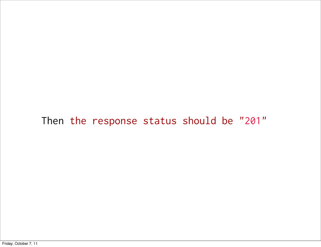 """Then the response status should be """"201"""" Friday..."""