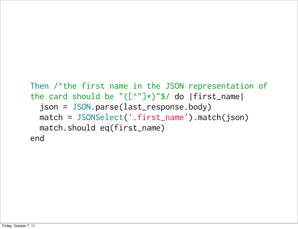 Then /^the first name in the JSON representatio...