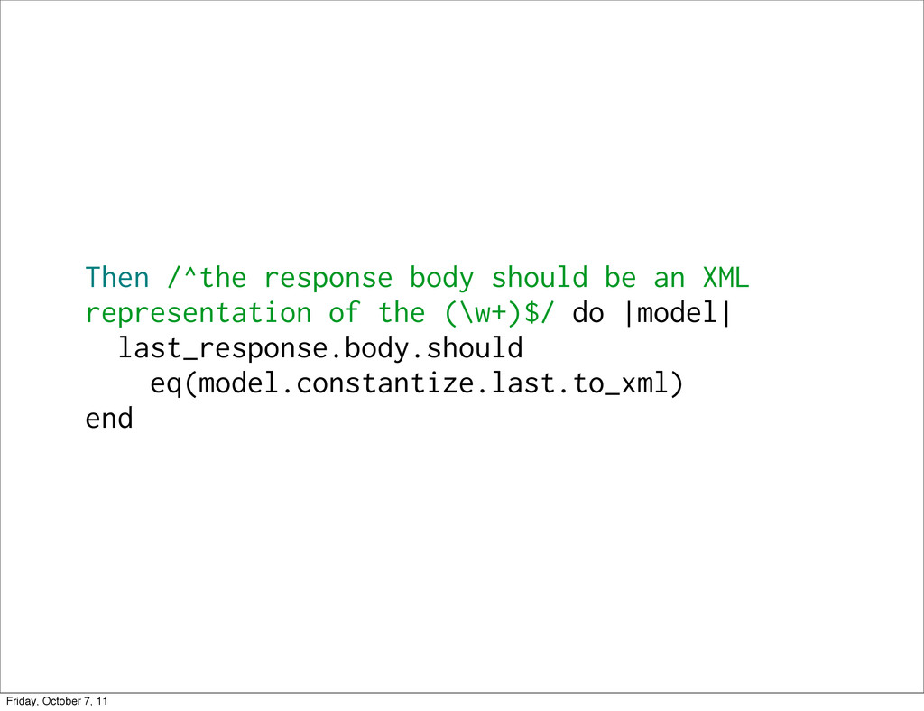 Then /^the response body should be an XML repre...