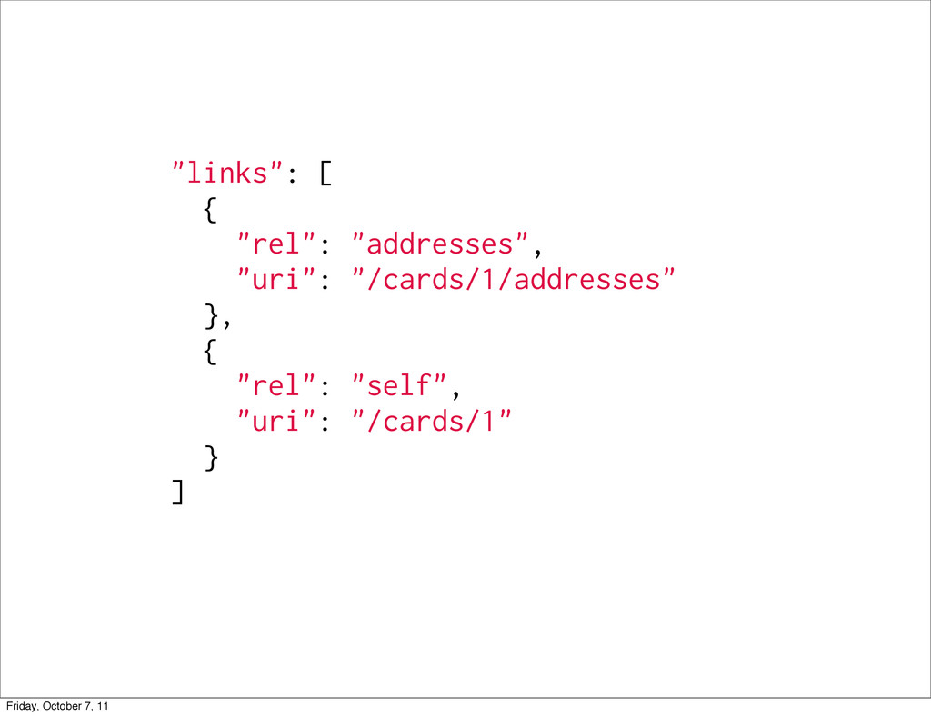 """links"": [ { ""rel"": ""addresses"", ""uri"": ""/cards..."