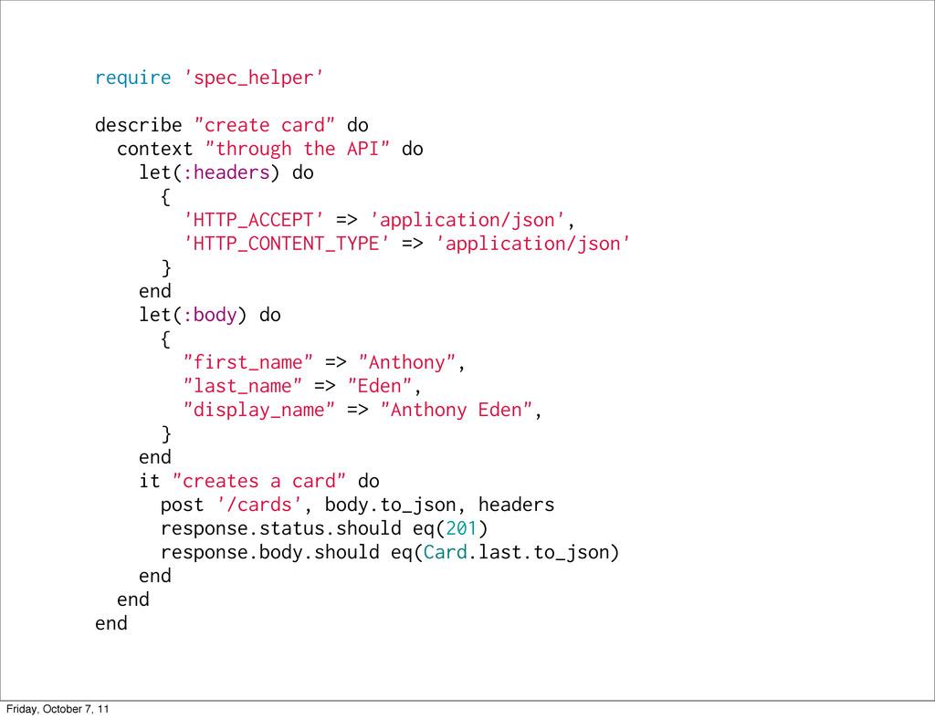 "require 'spec_helper' describe ""create card"" do..."