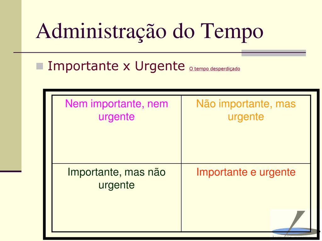 Administração do Tempo  Importante x Urgente O...